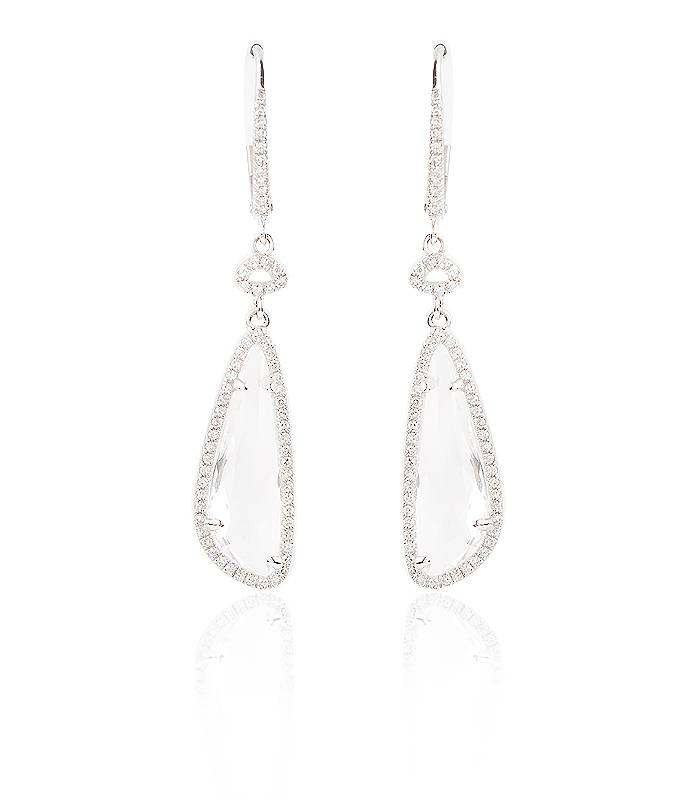 """Pendientes """"Crystal"""" Largos con Diamantes y Topacio Blanco"""