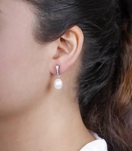 Pendientes oro blanco 18k y perlas cultivadas