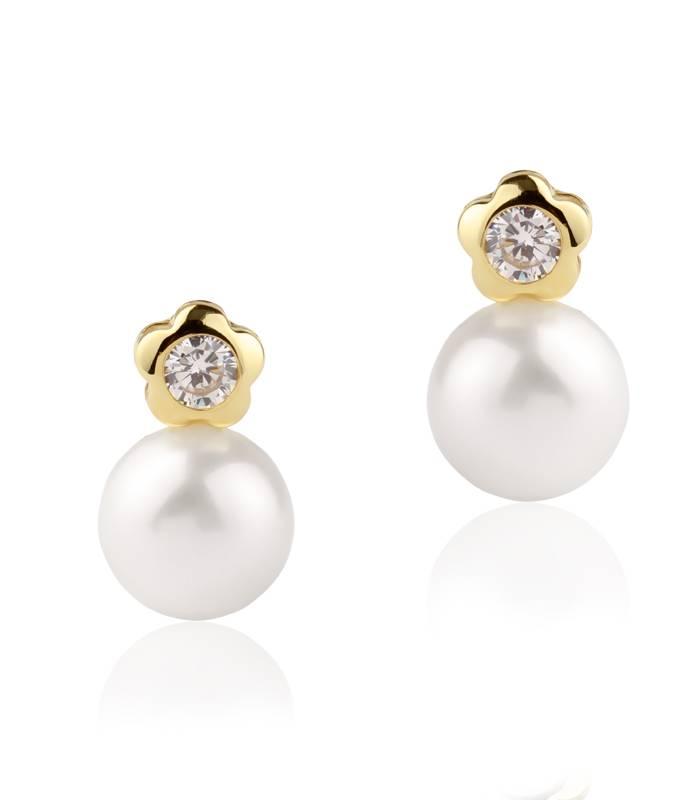 """Pendientes """"Petals"""" Oro Bicolor 18k perla y circonita"""