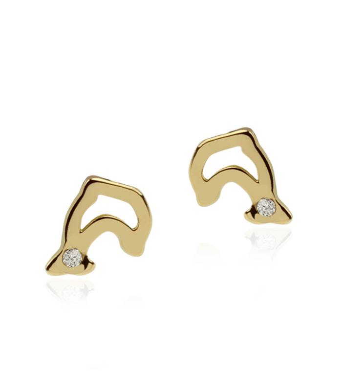 61eb7d63a94d Pendientes de oro amarillo de 18 quilates con forma de delfín
