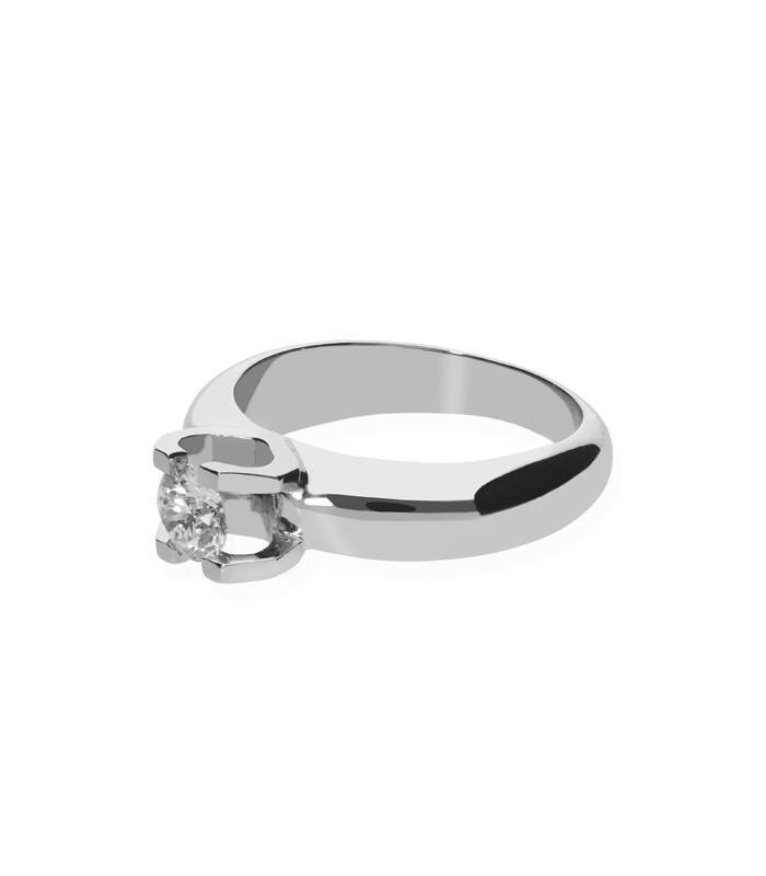 """Solitario """" Cuore"""" Oro Blanco con diamante"""