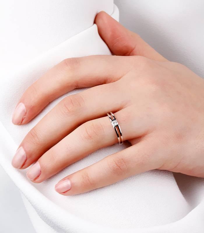 """Solitario """"Quare"""" Oro Blanco y Diamante"""