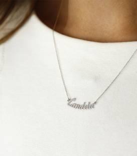Collar de nombre de Oro Blanco de 18k