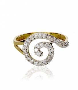 """Anillo """"Espiral"""" de Oro Bicolor 18k y ciconitas"""