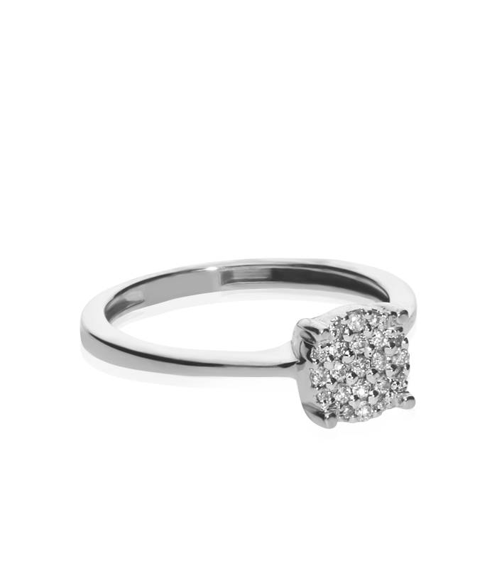 "Anillo ""Kusán"" Oro Blanco y Diamantes"