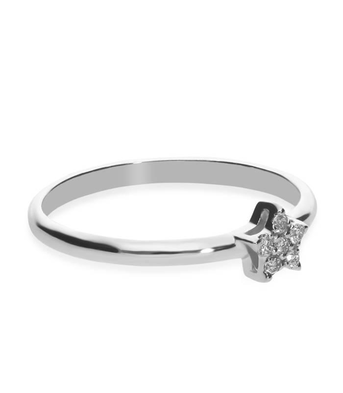 """Anillo """"Estrella"""" Oro Blanco y Diamantes"""