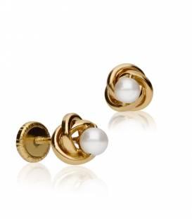 """Pendientes """"Nest"""" Mediano Oro 18k y perla"""