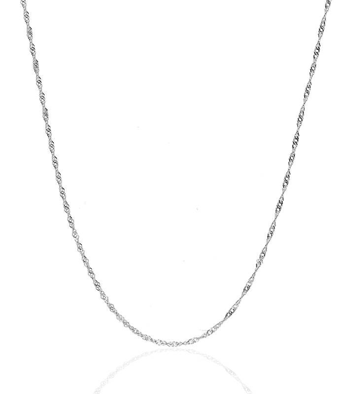 Cadena Singapur Oro Blanco 18k. 45cm