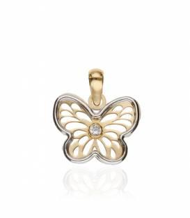 """Colgante """"Butterfly"""" Oro Bicolor 18k nacar y circonitas"""
