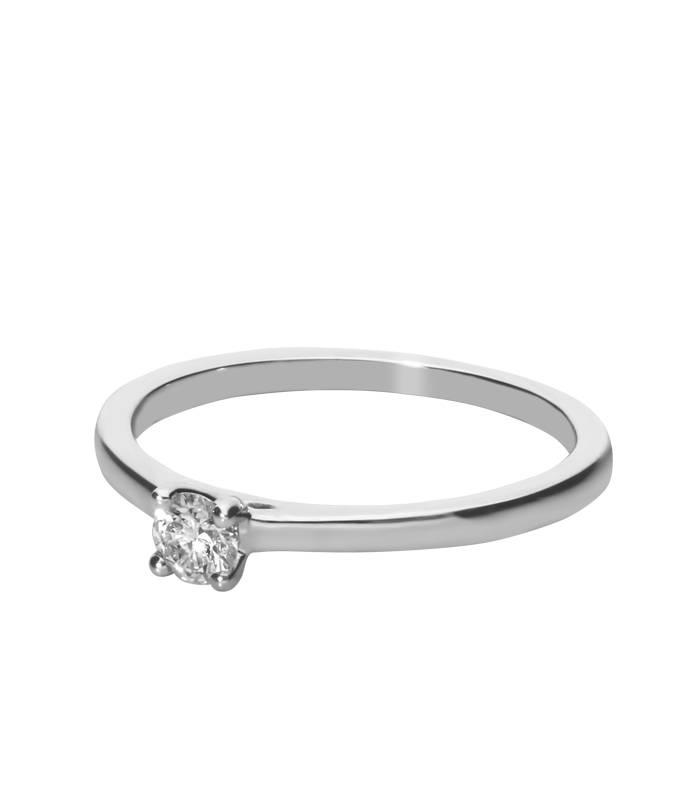 """Anillo Solitario """"Cora"""" Oro Blanco y Diamante"""