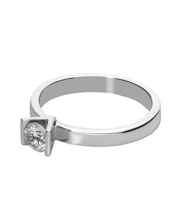 """Anillo Solitario """"Valery"""" Oro Blanco y Diamante"""