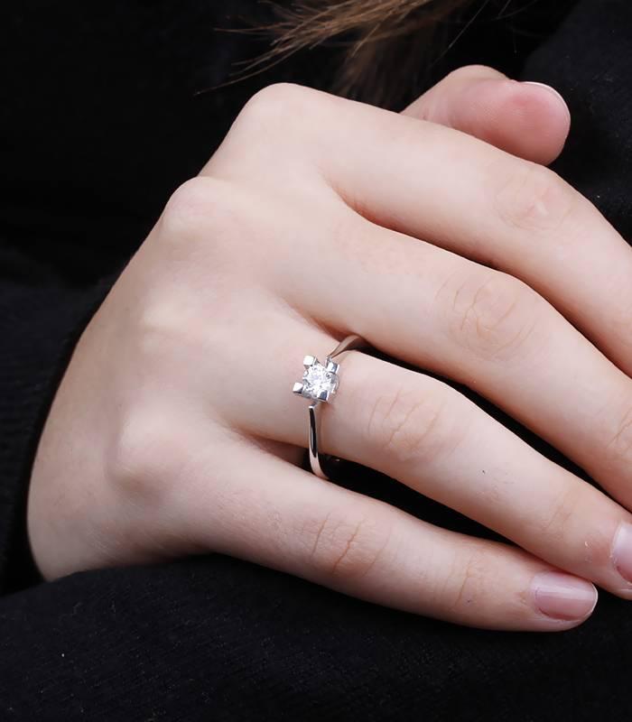 """Anillo """"Weit"""" Oro Blanco y Diamantes"""