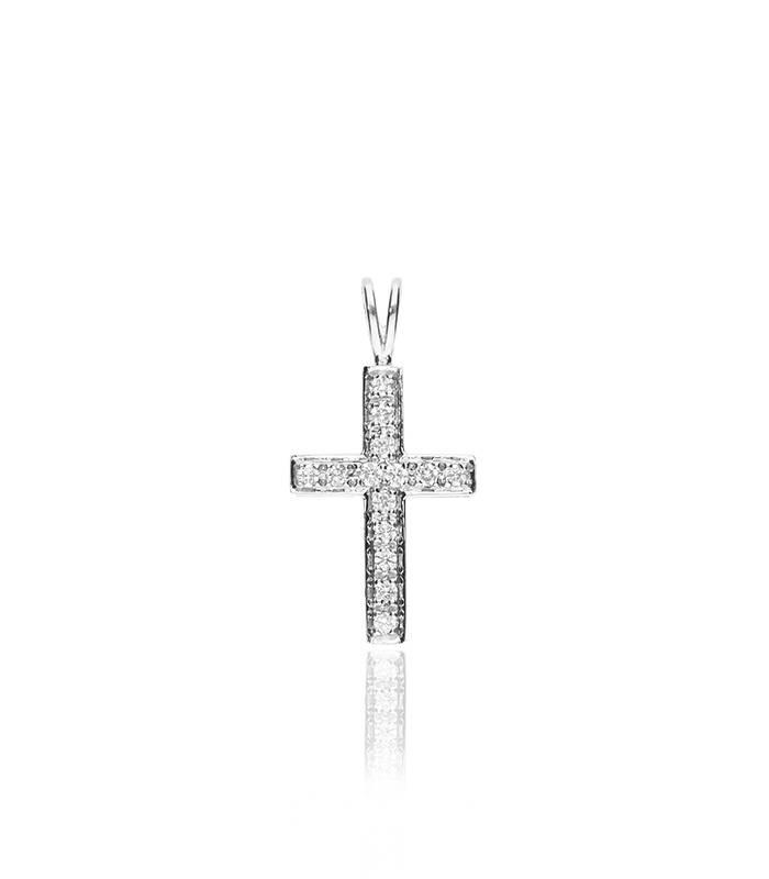 """Colgante """"Cruz Divina"""" Oro Blanco 18k y Diamantes"""
