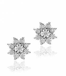 """Pendientes """"Fantástica"""" de Oro Blanco 18k. y Diamantes"""