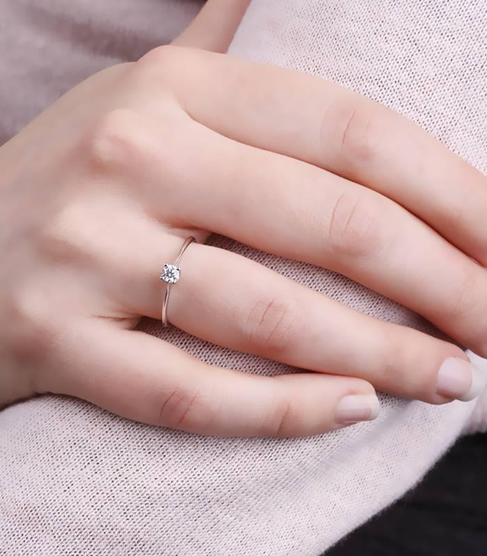 "Anillo ""Swell"" Oro Blanco y Diamante"