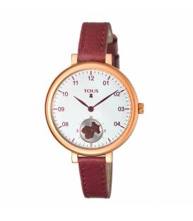 Reloj Tous Spin de acero IP rosado con correa de piel burdeos 600350440