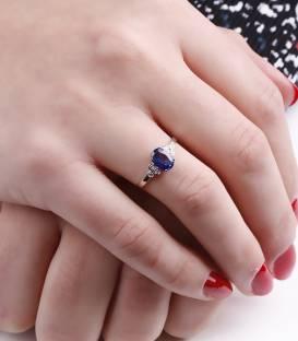 """Anillo """"Blue Dream"""" Oro Blanco18k diamantes y Zafiro"""