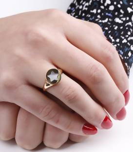 "Anillo Sello ""Big Star"" Oro 18k y nacar"