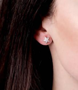 """Pendientes """"Stars"""" de Oro Blanco 18k. y Diamantes"""