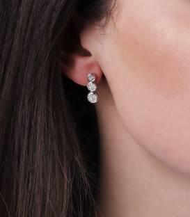 """Pendientes """"Algae"""" de Oro Blanco 18k y Diamantes"""