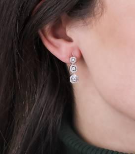 """Pendientes """"Kubik"""" de Oro Blanco 18k y Diamantes"""