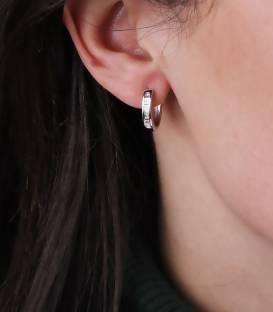 """Pendientes Aro """"Marita"""" de Oro Blanco 18k. y Diamantes"""