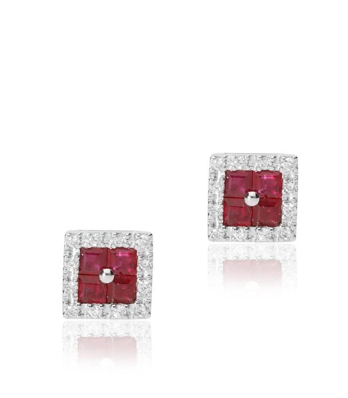 088d88925d4e Pendientes cuadrados en Oro Blanco 18k diamantes talla brillante y ...