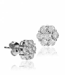 """Pendientes """"Lara"""" de Oro Blanco 18k. y Diamantes"""