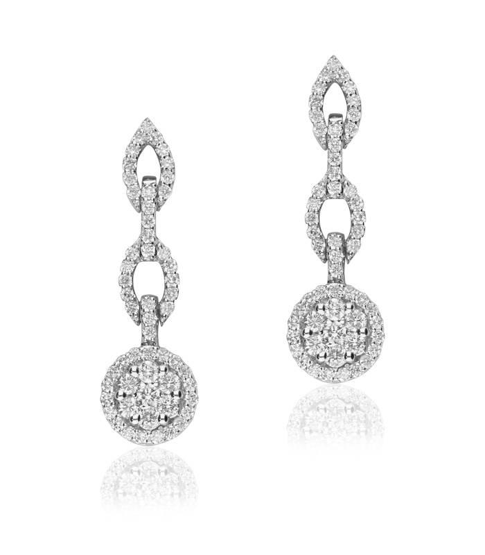 """Pendientes """"Chain"""" de Oro Blanco 18k y Diamantes"""