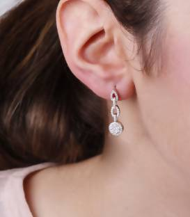 "Pendientes ""Chain"" de Oro Blanco 18k y Diamantes"