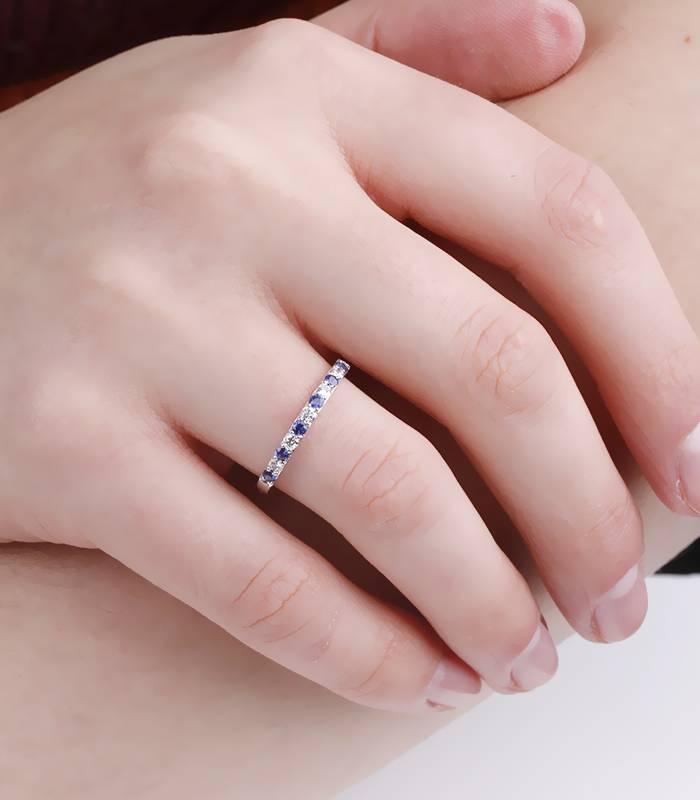 "Anillo ""Emma Blue"" Oro Blanco, Diamantes y Zafiros"