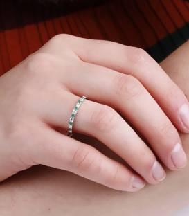 """Anillo """"Emma Vert"""" Oro Blanco, Diamantes y Esmeraldas"""