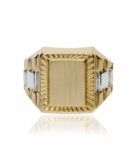 Sello oro amarillo 18k rectangular con filo tallado
