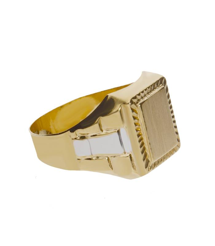 Sello oro amarillo 18k rectangular con filo tallado