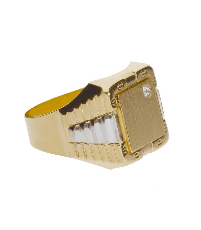 Sello Oro Bicolor 18k rectangular con Circonita