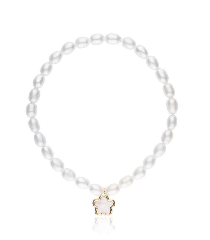 """Pulsera """"Flor de Nacar"""" de perlas, oro 18k. y nacar"""