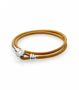 Pulsera Moments en cuero caramelo doble 597194CGT