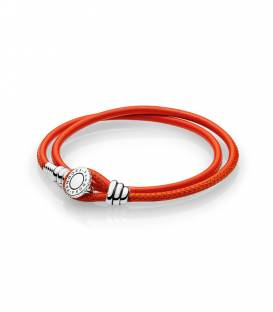 Pulsera Moments en cuero naranja doble 597194CSO