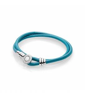 Pulsera Moments en cuero turquesa doble 597194CTQ