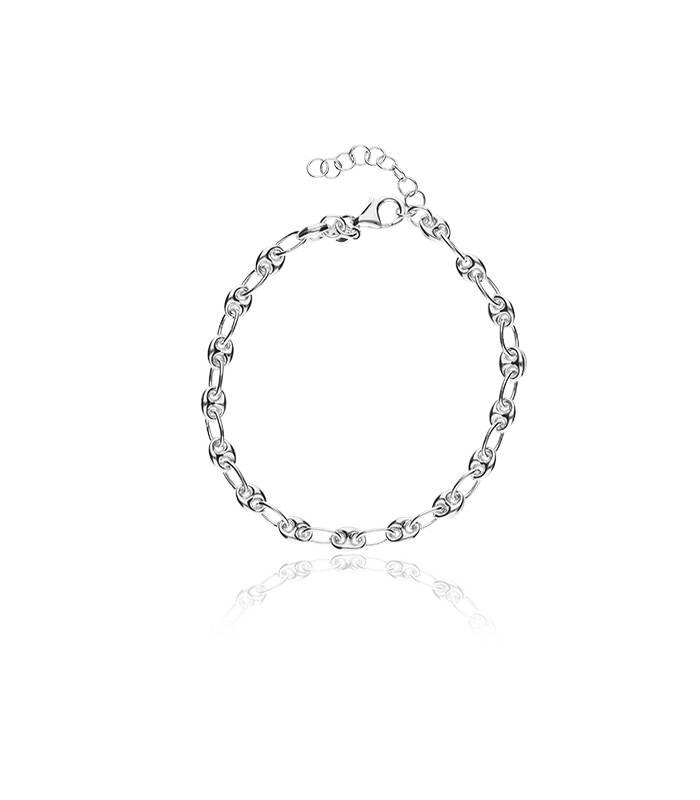 73156f8b3ad Pulsera en plata de primera ley con eslabones con forma de