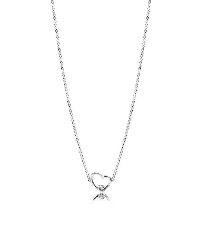 Collar Corazón de Amor Asimétrico 397797CZ-45