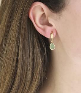 """Pendientes """"Florish"""" Oro 18k y Piedra Verde"""