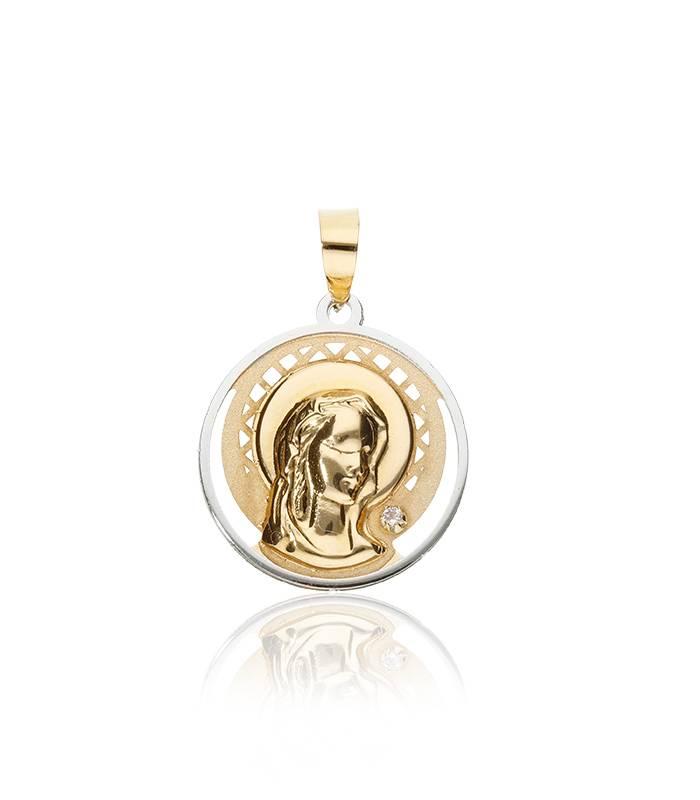 Medalla Virgen Niña de Oro Bicolor 18k