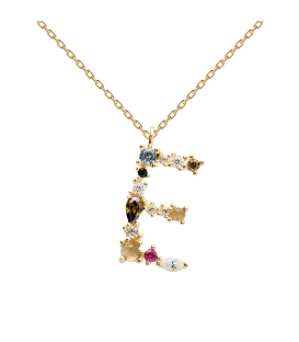 Collar Plata Baño de oro PDPAOLA Letra E CO01-100-U