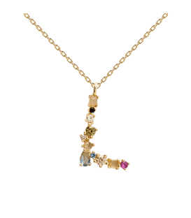 Collar Plata Baño de oro PDPAOLA Letra L CO01-107-U