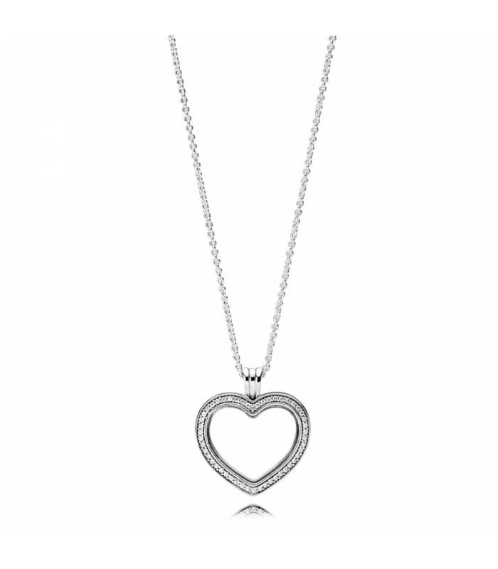 Colgante Locket en plata de ley Corazón Brillante 397230CZ-60