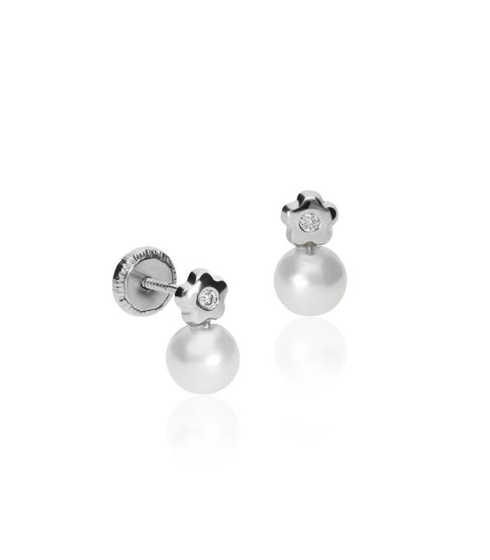 """Pendiente """"Little Garden"""" Oro Blanco 18k Diamantes y Perlas Cultivadas"""