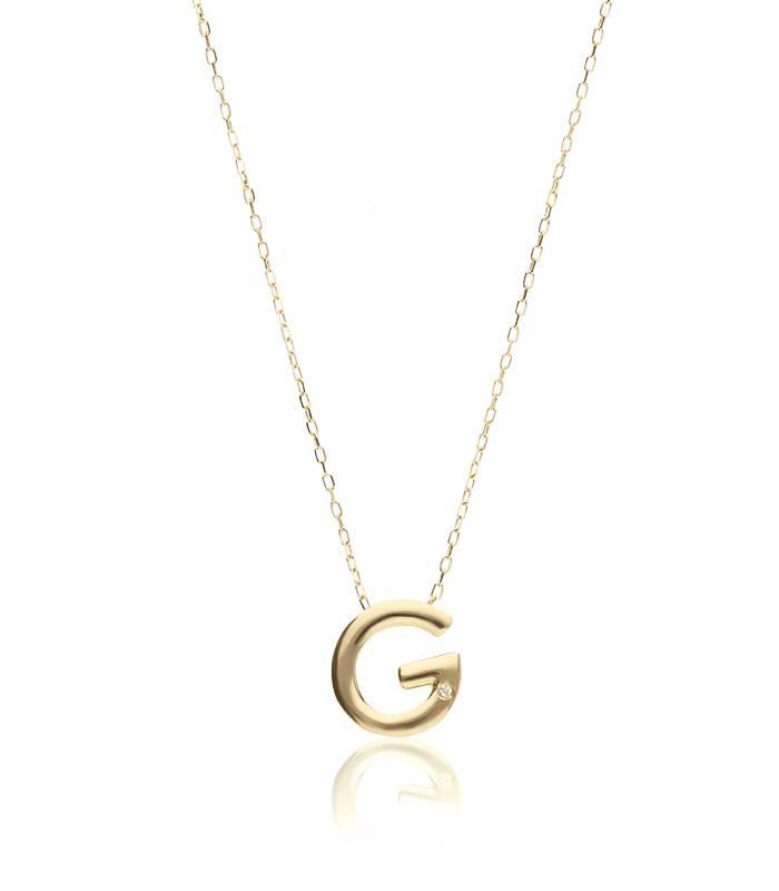 """Gargantilla """"G"""" oro 18k y diamante"""