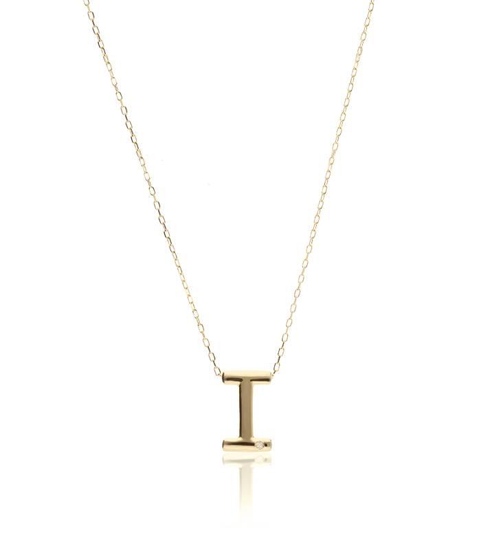 """Gargantilla """"I"""" oro 18k y diamante"""