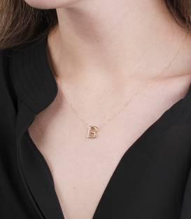 """Gargantilla """"B"""" oro 18k y diamante"""